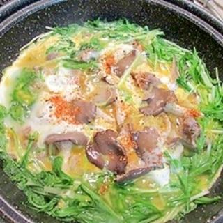 脂を落として!ヒラタケの卵とじ鍋