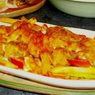ポテトとブロッコリーとプチトマトのピザ風チーズ焼き