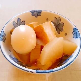 作り置き☆麺つゆで冷凍大根と厚揚げとゆで卵の煮物