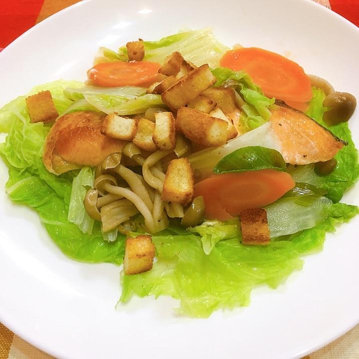 カリカリ食パンと鮭の野菜包み焼き