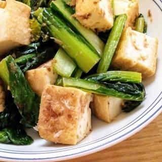 ♪麺つゆだけ♡厚揚げと小松菜の炒め物♪