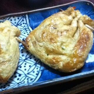 銀杏と納豆の巾着焼き