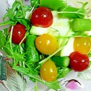 丸いズッキーニとアスパラのサラダ