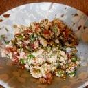 赤カブの葉と鶏ひき肉のそぼろ