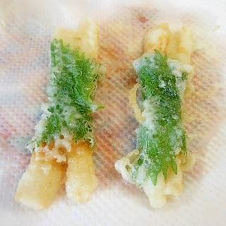おつまみに★大葉巻ちくわの天ぷら☆
