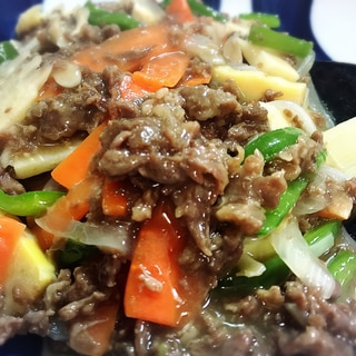 野菜たっぷり!八宝菜風牛肉とたけのこの中華あんかけ