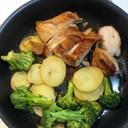 鶏肉とじゃがいもとブロッコリーのグリル