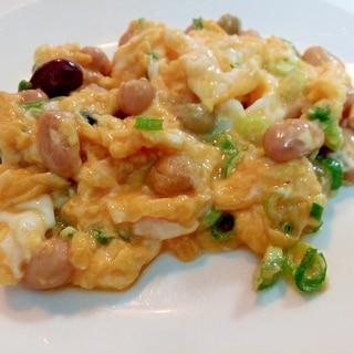 蒸しサラダ豆と葱の卵炒め