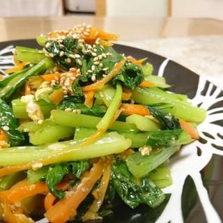小松菜と卵と作り置きニンジンの炒め