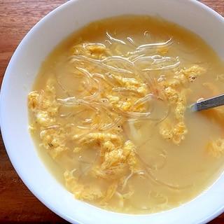 一人分♪春雨とたまごの中華スープ♪