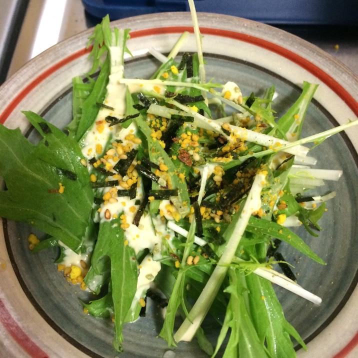 朝の時短サラダ♪のりたま×水菜のサラダ