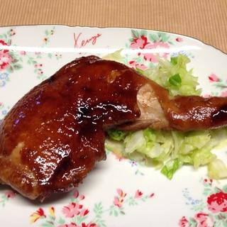 骨付き鶏モモ肉の照り焼き。