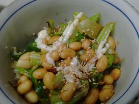 ピーマンと春キャベツ大豆の味噌炒め丼