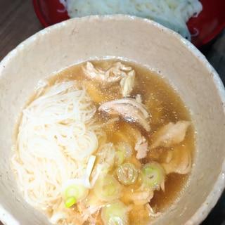 サラダチキン茹で汁活用☆鶏素麺