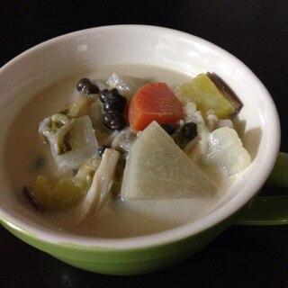 むかご入り豆乳スープ