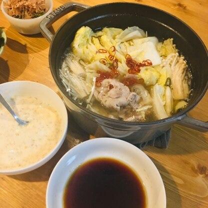 昔台湾で食べた酢白菜鍋が忘れられず、、、美味しく再現できました!ポン酢&豆板醤&ごま油のタレが最高です♪