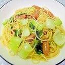 チンゲン菜とウインナーのペペロンチーノ