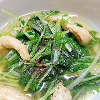 豆苗と水菜、油揚げのさっと煮