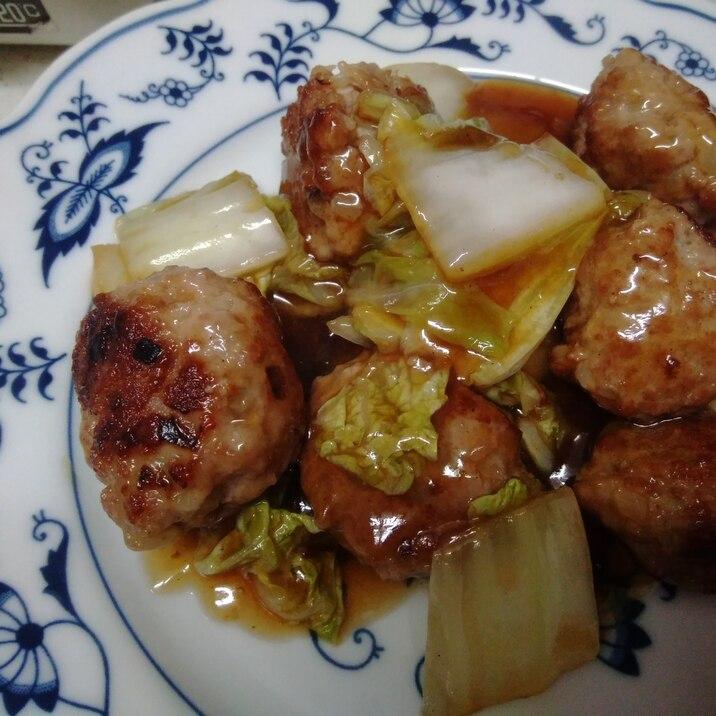 豚団子と白菜のポン酢あんかけ