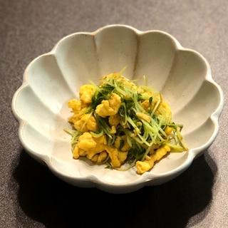 豆苗と卵のコク旨オイスターソース炒め