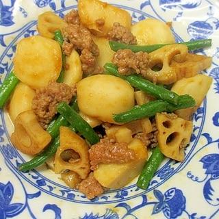 里芋・レンコン・インゲン・豚挽き肉の中華風煮物