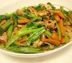 こま切れ肉と小松菜の甘辛炒め