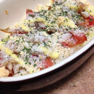 簡単アジとポテトとトマトの重ね焼き