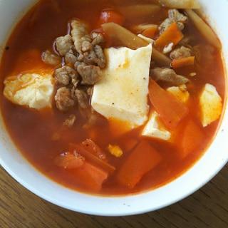 ごぼうと人参と豚肉と豆腐のスンドゥブ
