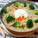 鮭と味噌とブロッコリーのオートミール雑炊