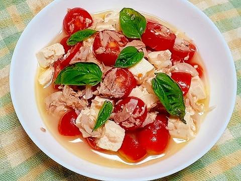 トマトとお豆腐のイタリアンサラダはピザに合う!