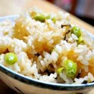 枝豆と塩昆布の簡単炊き込みご飯