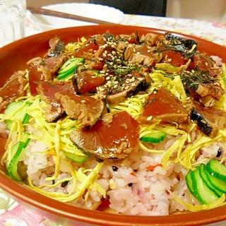 カツオのたたきで安ウマ! ちらし寿司