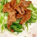 焼き肉のたれで簡単☆豚肉炒め&水菜