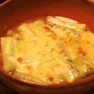 コンソメスープで☆ネギのチーズ焼き