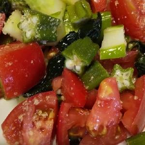 きゅうりとオクラとトマトの酢の物