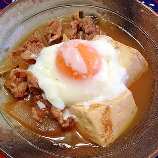 コチュジャン入り☆肉豆腐(温泉卵のせ)
