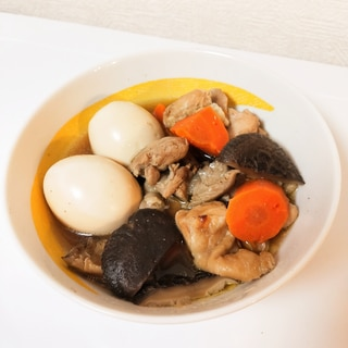 ポン酢で♪鶏肉とゆで卵の煮物