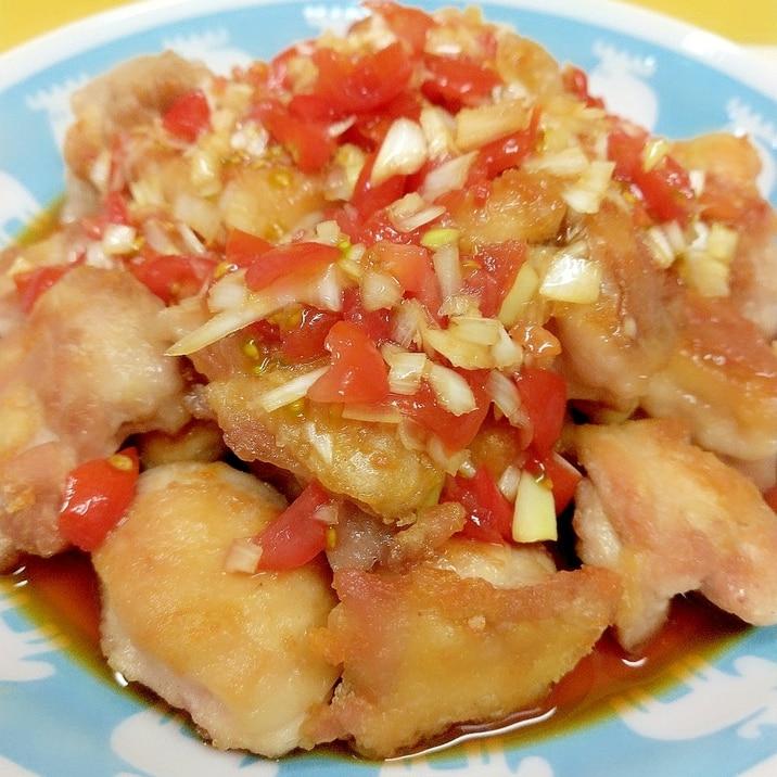 簡単揚げ焼き♪(^^)ミニトマトだれの油淋鶏風♪