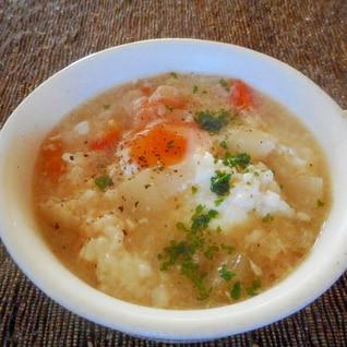 人参、玉ねぎと卵のスープご飯