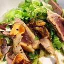 野菜たっぷり!鰹のガーリックレアステーキ