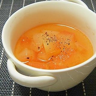 スイカの白い皮で中華スープ