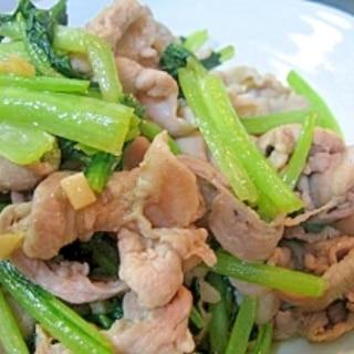 シャキシャキ小松菜と豚肉のニンニク炒め