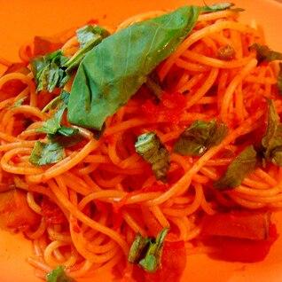 かぼちゃとインゲン豆のトマトソーススパゲティ