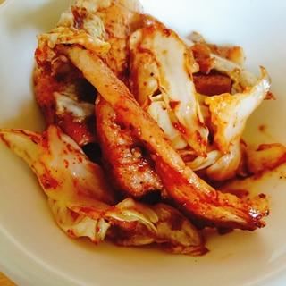 キャベツと豚肉のピリ辛焼肉のたれ炒め