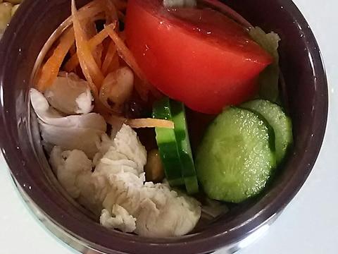 スープジャーでチキンとお豆のサラダ