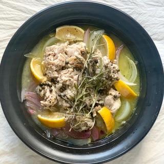 レンジで簡単!鶏肉のレモンハーブ煮