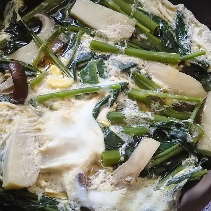 エリンギと空芯菜の卵とじ(^^)