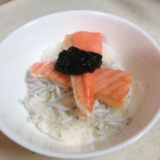 シラスと鮭はらすの丼