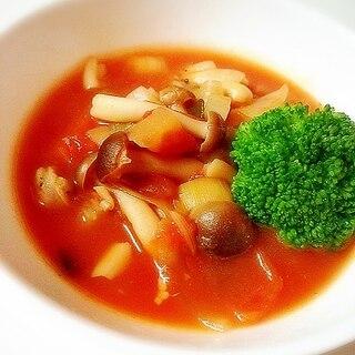くるみと大豆入りトマトスープ