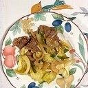 生ラム肉、玉葱、えんどう、キャベツの炒め物